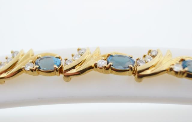 Blue Topaz and Diamond Bracelet, in 14k Yellow Gold