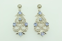 Tanzanite and Diamond Earrings, in 14k White Gold