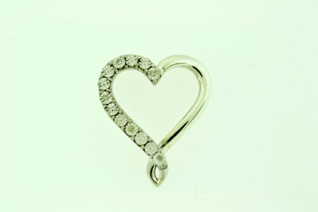 Sterling Silver Heart Pendant with Diamond Accent