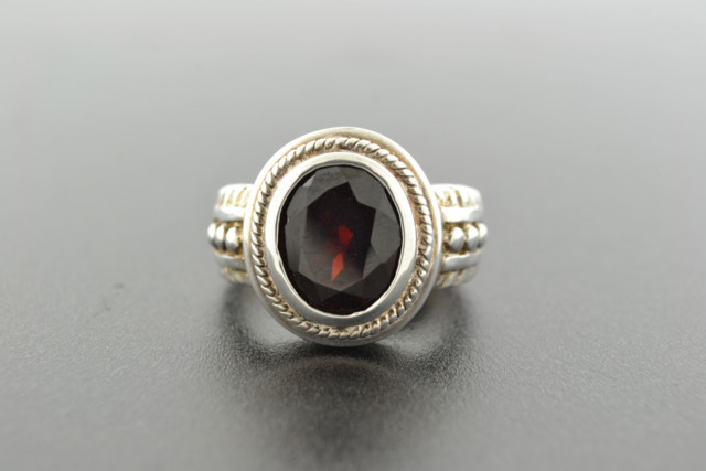 Garnet Ring, Set in Sterling Silver