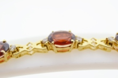 Oval Garnet and Diamond Bracelet, in 14k Yellow Gold
