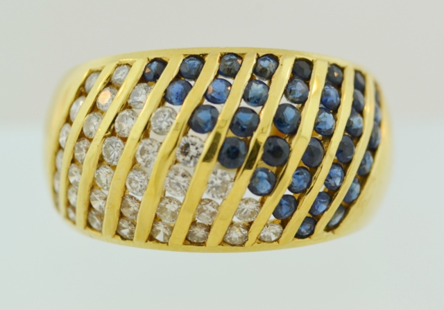 Multi Channel Sapphire and Diamond Ring, in 18k Yellow Gold