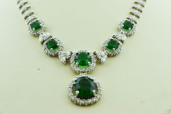 Sterling Silver Synthetic Emerald and Cubic Zirconia Necklace