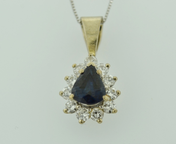 Pear-cut Sapphire and Diamond Pendant, Set in 14k White Gold