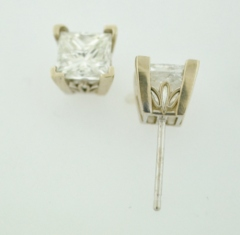 2.01ct tw Princess-cut Diamond Studs
