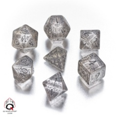 Elven Dice- Translucent w. Black 7pc Plyhedral