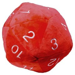 Jumbo D20 Dice Plush in Red with White Numbering