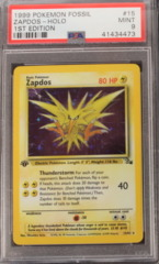 ZAPDOS-HOLO 15/62 PSA 9 MINT 1st Edition MISPRINT Team Rocket