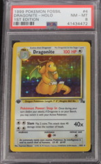 Dragonite-Holo 4/62 PSA 8 1st Edition Fossil