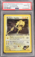 Rocket's Zapdos Holo-1st Edition #15 PSA 10 GEM MINT