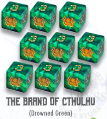 Elder Dice - 9 D6 The Brand of Cthulhu - Green (ED6-C11)