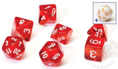 8 Polyhedral Dice Set Sirius Red Transluscent