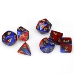 7 Polyhedral Dice Set Gemini Blue-Red / Gold - CHX26429