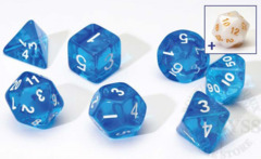 8 Polyhedral Dice Set Sirius Blue Transluscent