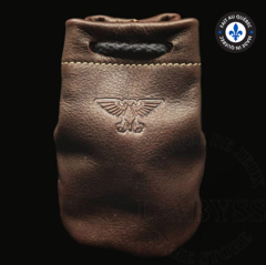 Premium Leather Dice Bag - Eagle Brown Small