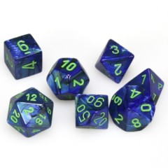 7 Polyhedral Dice Set Lustrous Dark Blue with Green - CHX27496