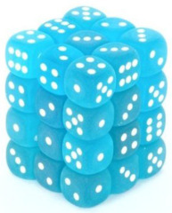 36 D6 Frosted 12mm Dice Caribbean Blue w/white - CHX27816