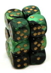 12 D6 Gemini 16mm Dice Black-Green w/Gold - CHX26639