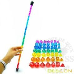 7 Mini Polyhedral LD 7 Dice Set Rainbow Wand - LD-49RB