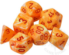 7 Polyhedral Dice Set Festive Sunburst with Red - CHX27453