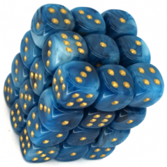36 D6 Phantom 12mm Dice Teal/Gold - CHX27889