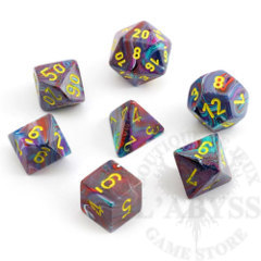 7 Polyhedral Dice Set Festive Mosaic with Yellow - CHX27450