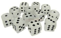 12 D6 Frosted 16mm Dice Clear w/black - CHX27601