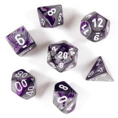 7 Polyhedral Dice Set Gemini Purple-Steel / White - CHX26432