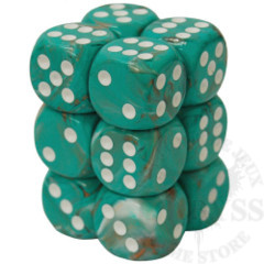 12 D6 Marble 16mm Dice Oxi-Copper with white - CHX27603