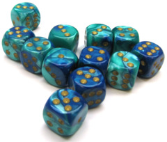 12 D6 Gemini 16mm Dice Blue-Teal/gold - CHX26659