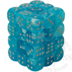 36 D6 Luminary 12mm Dice Sky with Silver - CHX27966