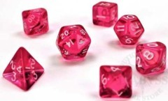 7 Mini-Polyhedral Dice Set Translucent Pink/White - CHX23064