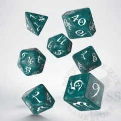 7 Polyhedral Classic RPG Dice Stormy and White - SCLE1A