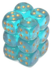 12 D6 Borealis 16mm Dice Teal /gold - CHX27686