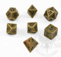 7 Mini Polyhedral Metal Dice Set Ancient Brass - LD-MMAB