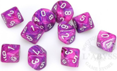 10 D10 Festive Dice Violet with White - CHX27257