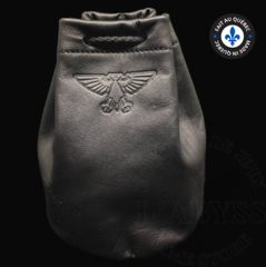 Premium Leather Dice Bag - Aquila Black Large