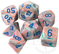 7 Polyhedral Dice Set Festive Pop Art with Blue - CHX27544