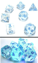 7 Polyhedral Dice Set Borealis Luminary Icicle / Light Blue - CHX27581