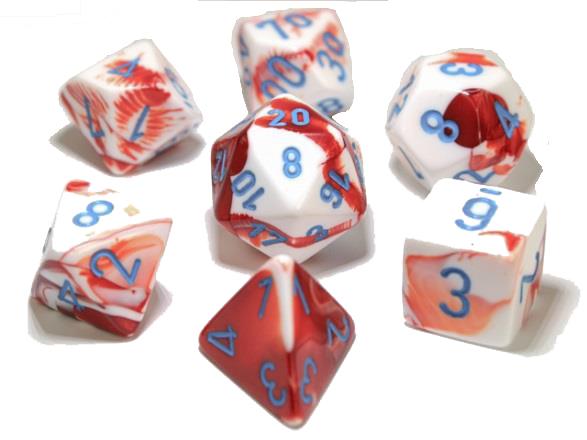 7 Polyhedral Dice Set Gemini Red-White / Blue - CHX30022