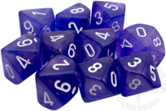 10 D10 Borealis Dice Luminary Purple with White - CHX27377