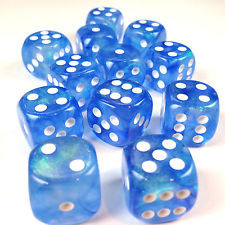 12 D6 Borealis 16mm Dice Sky Blue w/white - CHX27626
