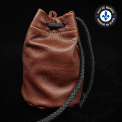 Premium Leather Dice Bag - Brown Small