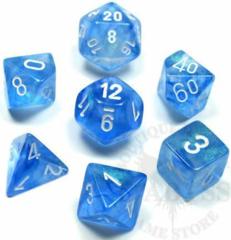 7 Polyhedral Dice Set Borealis Sky Blue/White - CHX27426
