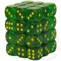 36 D6 Borealis 12mm Dice Maple Green with Yellow - CHX27965