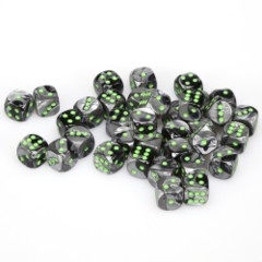 36 D6 Gemini 12m Dice Black Grey / Green - CHX26845