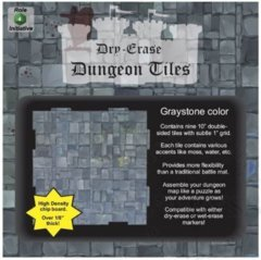 Dry Erase Dungeon Tiles, Graystone – Pack of 9 10″ square tiles