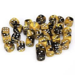 36 D6 Gemini 12mm Dice Black Gold/Silver - CHX26851