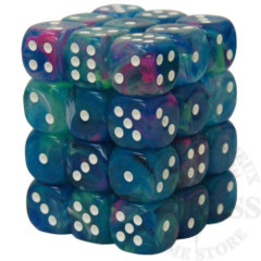 36 D6 Festive 12mm Dice Waterlily with White - CHX27946