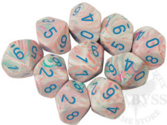 10 D10 Festive Dice Pop Art with Blue - CHX27344